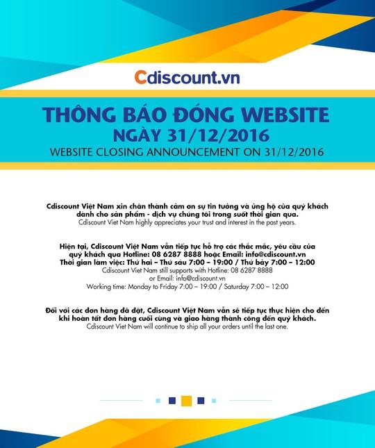 Thông báo của BigC về việc đóng cửa trang thương mại điện tử Cdiscount