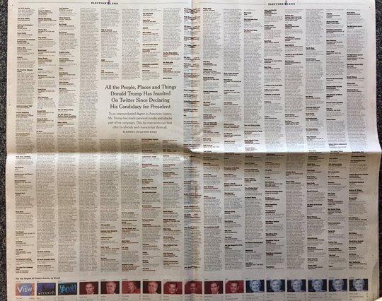 Hai trang báo đặc biệt của tờ New York Times ngày 24-10. Ảnh: Twitter