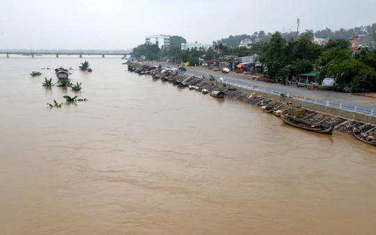 Hiện mực nước lũ trên sông Trà Khúc đang ở mức báo động 3. Ảnh: Tử Trực