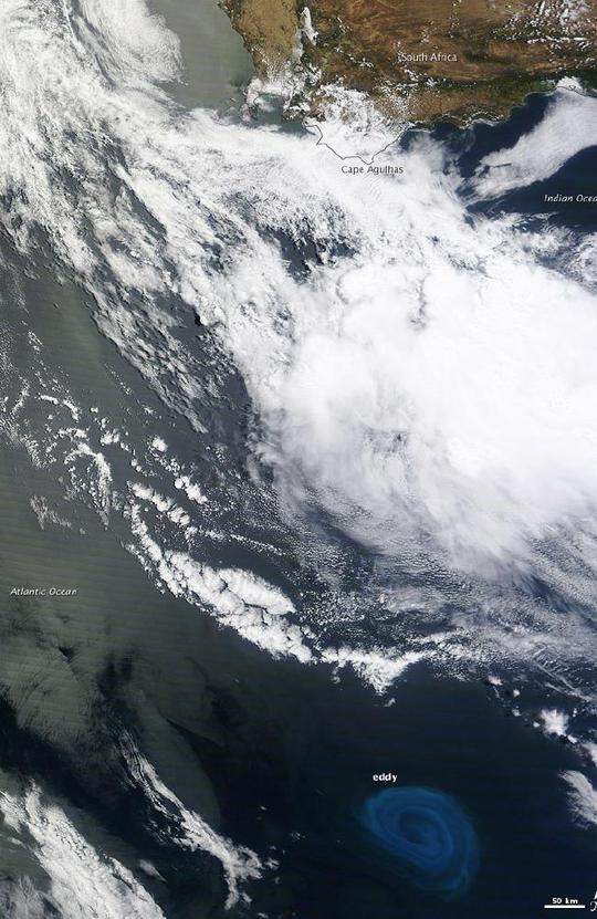 Một số vùng biển chết tồn tại trong các xoáy nước sâu (eddy) ngoài khơi châu Phi. Ảnh: NASA