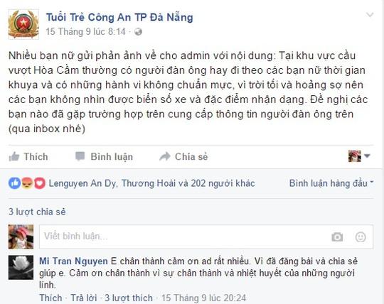 Thông tin phản ánh và kêu gọi nạn nhân trình báo sự việc trên Fapage của Công an TP Đà Nẵng
