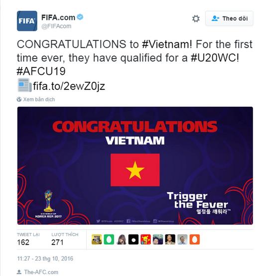 Trang twitter của FIFA gửi lời chúc mừng đến đội tuyển U19 Việt Nam