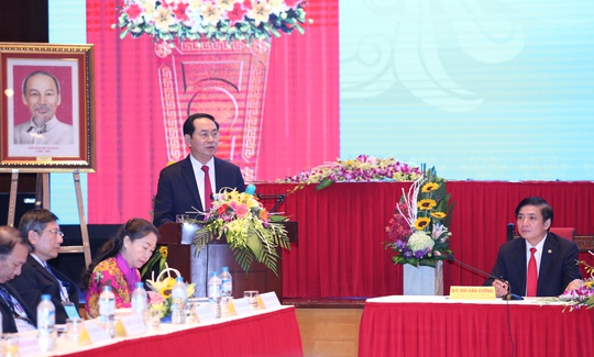 Chủ tịch nước Trần Đại Quang phát biểu chỉ đạo tại buổi thăm và làm việc với Tổng LĐLĐ sáng 24-9-ảnh: Văn Duẩn