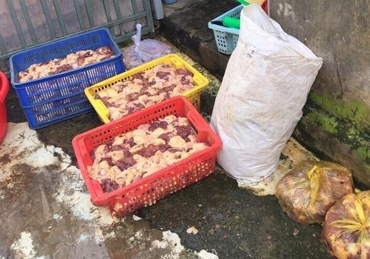 Số thịt gà tẩm hàn the cho dai và tươi. Ảnh: PC49 cung cấp