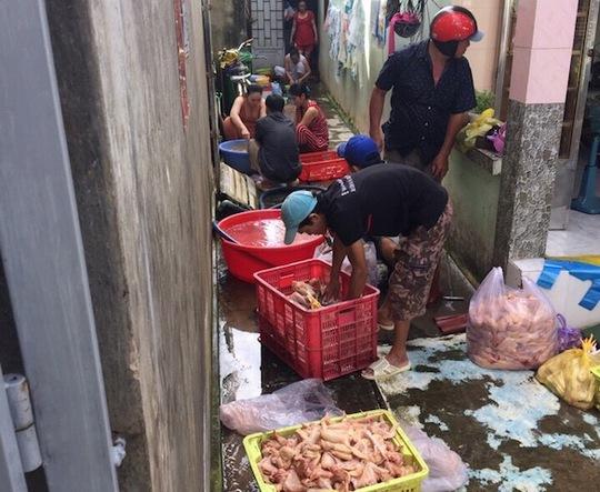 Các công nhân đang chế biến thịt gà bên khu vực miệng cống. Ảnh: PC49 cung cấp