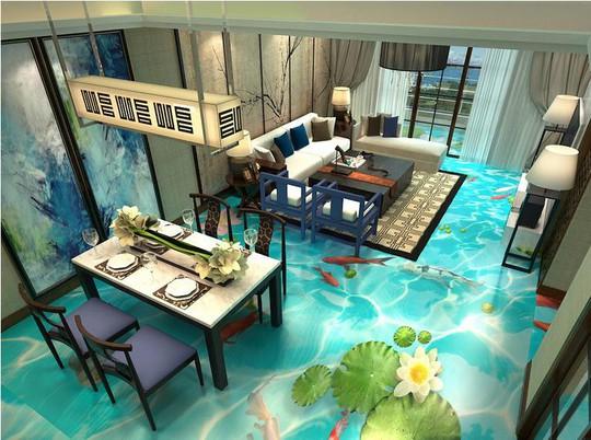 Hiệu ứng gạch 3D làm bạn liên tưởng đến những chú cá vàng đang bơi lội tung tăng ngay dưới chân bạn.