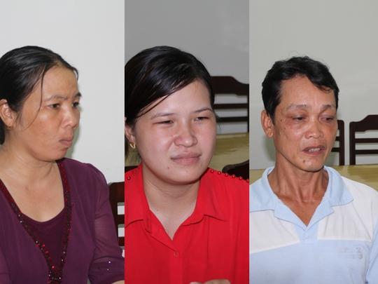 Ba đối tường (từ trái qua): Cà Tím, Kiều và Nguyễn Văn Thư ra đầu thú. Ảnh: Công an cung cấp