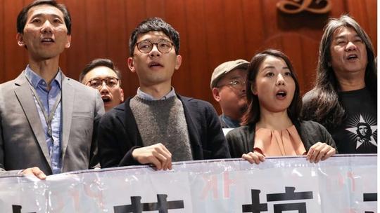 Từ trái qua: Các nghị sĩ Edward Yiu, Nathan Law, Lau Siu-lai và Leung Kwok-hung Ảnh: SCMP