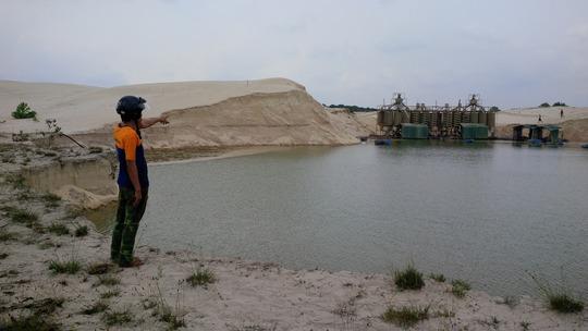 Diện tích Công ty CPKS Hiếu Giang lấn chiếm khai thác của xã Trung Giang