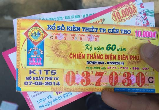 Tờ vé số ngày xổ 7-5-2014 nhưng được Tín bán vào ngày 7-12-2016