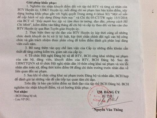 Giải pháp khắc phục sai phạm của Đảng ủy xã Bình Lâm