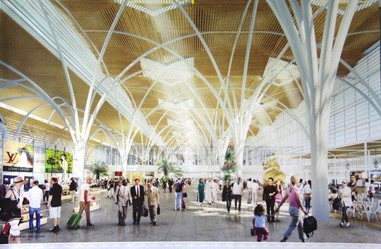 Vật liệu tre được thể hiện dưới hình thức trang trí đan kết thành không gian nội thất trong nhà ga