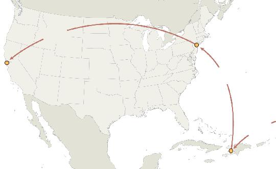 Đường đi đến Mỹ của virus HIV. Ảnh: Nature