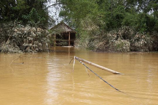 Đường dây điện bị ngã dìm trong nước rất nguy hiểm