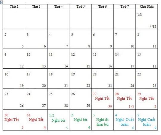 Theo Lịch 2017, người lao động sẽ được nghỉ tết Nguyên đán Đinh Dậu 7 ngày