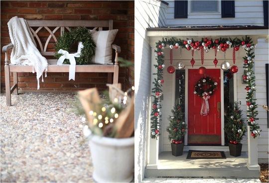 Đặt một vòng hoa tự kết từ hoa lá, cây cỏ trong vườn và gắn chúng lên băng ghế bên hiên nhà cũng là cách gọi mời Giáng sinh về.