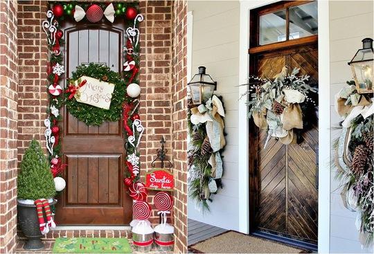 Tận dụng những vật dụng có sẵn như vải bố, ribbon, quả thông, cành thông để tạo nên điểm nhấn đặc biệt cho khoảng diện tích hiên nhà.
