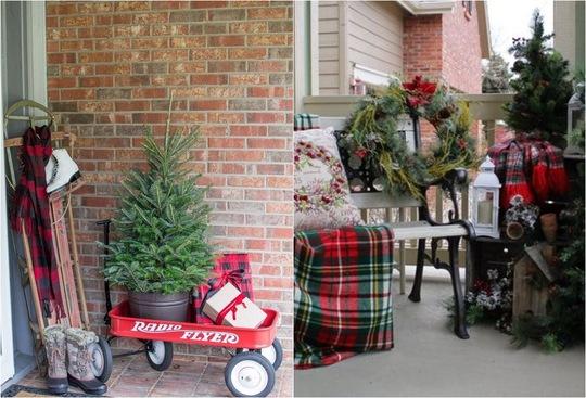 Màu đỏ luôn là màu tuyệt vời khi nghĩ đến việc trang trí nhà dịp Noel. Thêm chiếc xe đẩy và đặt chậu cây, những món quà dành tặng cho mọi người ở bên trong.