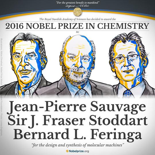 3 nhà khoa học được trao giải Nobel Hóa học 2016. Ảnh: Reuters, nobelprize.org