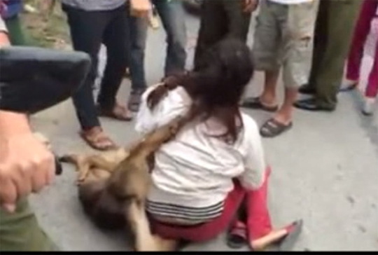 Người dân đem chó quàng lên người kẻ trộm