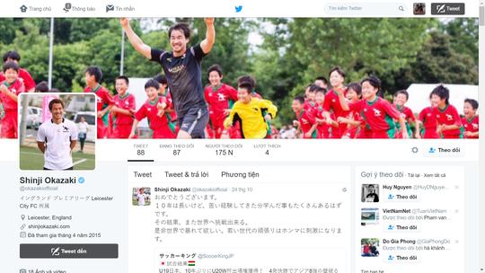 Okazaki chúc mừng U19 Nhật trên trang Twitter và kêu gọi các đàn em trút giận lên đối thủ ở giải U19 châu Á, đầu tiên là trận bán kết gặp U19 Việt Nam