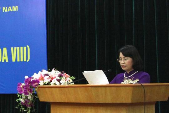Phó Chủ tịch Ủy ban Trung ương MTTQ Việt Nam Bùi Thị Thanh trình bày báo cáo tại hội nghị - Ảnh: Trung Hiếu