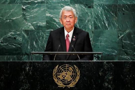 Ngoại trưởng Philippines Perfecto Yasay phát biểu tại Đại hội đồng Liên Hiệp Quốc hôm 24-9 Ảnh: Reuters
