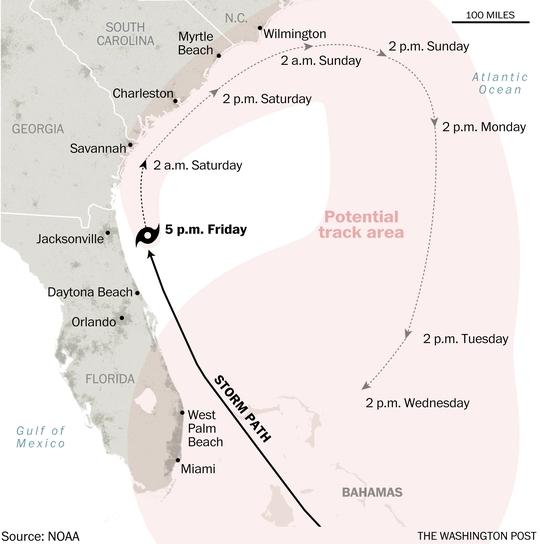 Bão có thể quành ngược lại Florida. Nguồn: NOAA