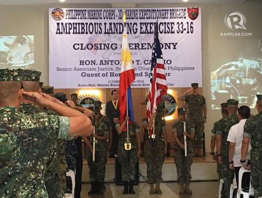 Cuộc tập trận chung Philippines-Mỹ Phiblex bế mạc sớm 1 ngày. Ảnh: Rappler