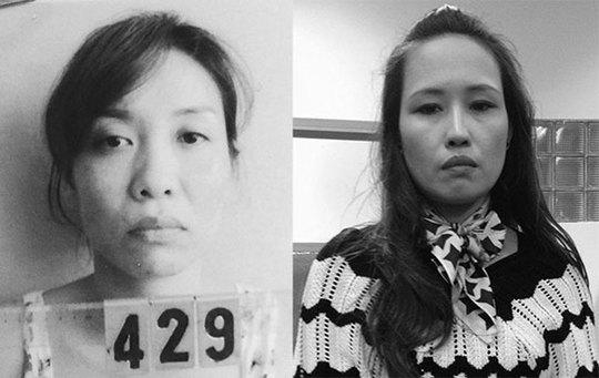 Vũ Thị Minh Thu khi bị bắt giữ (ảnh trái) và Trần Thị Lan mặc dù phẫu thuật thẩm mỹ thay đổi nhân dạng nhưng vẫn bị bắt.