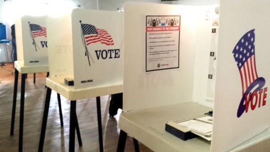 Các trụ bỏ phiếu tại Mỹ. Ảnh: mynewsla.com