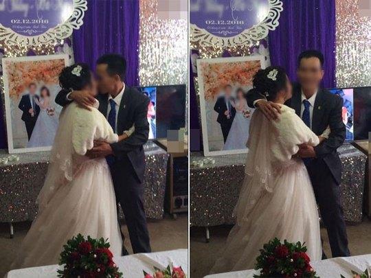 Nụ hôn trước khi về chung một nhà của cặp đôi chồng hơn bố vợ 3 tuổi.