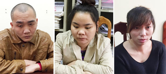 Nhóm đối tượng bắt cóc tống tiền tại trụ sở cơ quan Công an. Từ trái qua: Hoàng Ngọc Trai, Trần Thị Linh và Nguyễn Thị Lý.