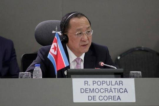 Bộ trưởng Ngoại giao Triều Tiên Ri Yong-ho tại hội nghị Phong trào không liên kết ở Venezuela hôm 15-9 Ảnh: REUTERS