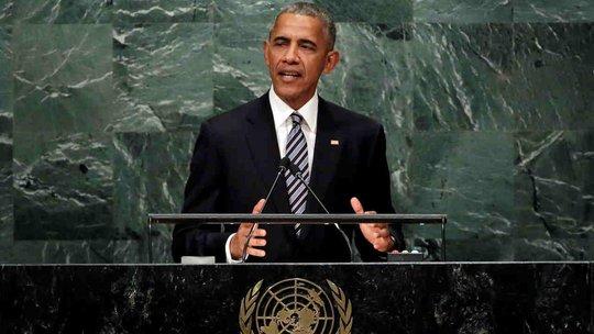 Tổng thống Mỹ Barack Obama phát biểu tại Đại Hội đồng Liên Hiệp Quốc. Ảnh: AP
