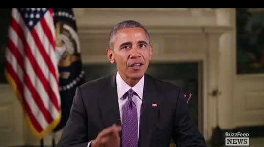 Ông Obama phát biểu trong một video phát trực tiếp trên BuzzFeed News tối ngày 9-11. Ảnh: BUZZFEED