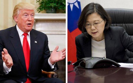 Tổng thống đắc cử Mỹ Donald Trump và lãnh đạo đảo Đài Loan Thái Anh Văn. Ảnh: TELEGRAPH