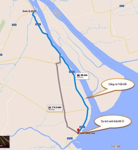 Bản đồ hướng dẫn về Mỏ Ó - Ảnh: Google Maps