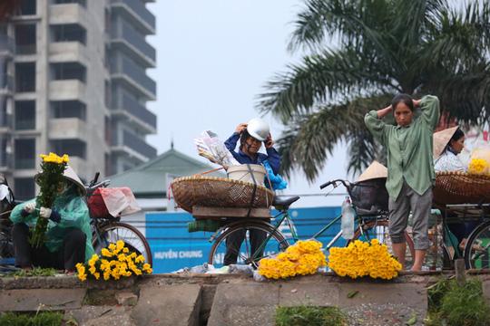 Những gánh hàng hoa, chiếc xe đạp chọn thời điểm tờ mờ sáng để chất đầy những bó hoa màu sắc để trôi len lỏi trên phố phường Thủ đô.