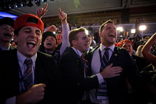 Người ủng hộ ông Trump vui mừng khi ông giành chiến thắng trong đêm bầu cử tổng thống Mỹ hôm 9-11. Ảnh: New York Times
