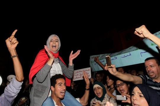 Biểu tình ở Rabat ngày 30-10 Ảnh: REUTERS