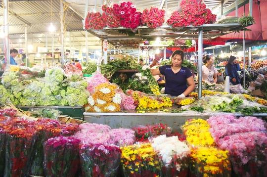 Một bó hoa lys tại chợ có giá từ 70.000 đến 200.000 đồng, hoa layơn cũng chỉ từ 40.000 đồng/chục bông.      Người mua hoa thường xuyên là những chủ cửa hàng hoa lớn nhỏ khắp thủ đô, thỉnh thoảng ngày rằm mùng 1 hay ngày lễ 8/3, 20/10 luôn có lượng khách đột xuất đến chợ để ngắm, để kinh doanh thời vụ.      Ngày thường, chợ chỉ họp vào ban đêm. Nhưng những ngày cuối năm, chợ hoạt động cả đêm lẫn ngày bởi lượng người đổ về mua sắm rất đông, đặc biệt là vào ngày 29 và 30 tháng Chạp.      Tiểu thương nhỏ luôn có mặt tại chợ từ rất sớm, nhanh chóng chọn hoa để mang đi tiêu thụ ở các chợ cóc, chợ tạm hay vào các shop hoa lớn.      Những gánh hàng hoa, chiếc xe đạp chọn thời điểm tờ mờ sáng để chất đầy những bó hoa màu sắc để trôi len lỏi trên phố phường Thủ đô.