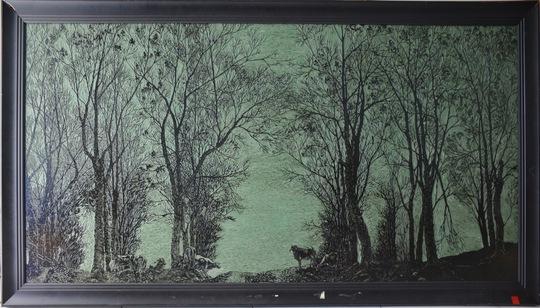 """Tác phẩm """"Rừng cao su"""" của Như Hoài (tranh kích thước 80 x 160 cm)"""