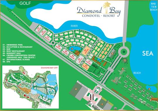 Mặt bằng tổng thể dự án Diamond Bay Condotel - Resort Nha Trang