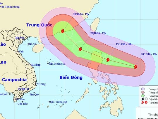 Vị trí và dự báo hưởng di chuyển của siêu bão Haima-Nguồn: Trung tâm Dự báo khí tượng thủy văn Trung ương