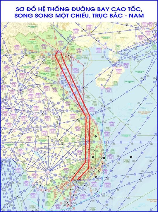 Sơ đồ đường hàng không cao tốc song song một chiều trục bay Bắc - Nam sẽ được vận hành từ ngày 18-8