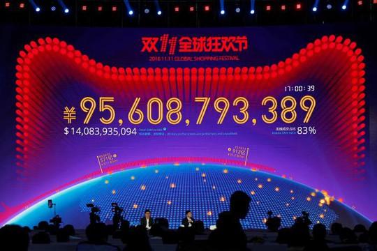 Bảng điện tử theo dõi doanh thu bán hàng của Alibaba hôm 11-11. Ảnh: Reuters