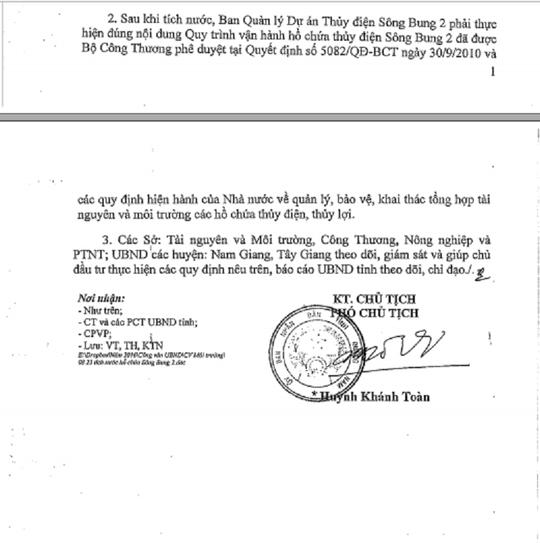 Văn bản của UBND tỉnh Quảng Nam thống nhất chủ trương cho tích nước