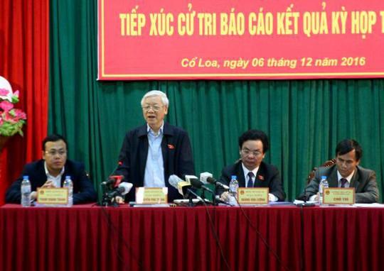 Tổng Bí thư Nguyễn Phú Trọng trả lời những câu hỏi của cử tri - Ảnh: Thanh Tâm