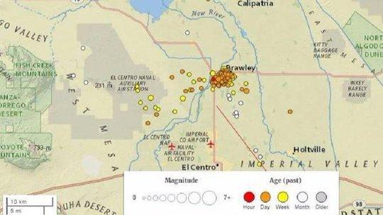 Khoảng 250 trận động đất nhỏ đã xảy ra gần biên giới bang California của Mỹ với Mexico kể từ đêm giao thừa. Ảnh: U.S. GEOLOGICAL SURVEY